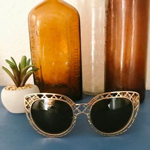 Tory Burch Gold Medal Cage Cat Eye Sunglasses